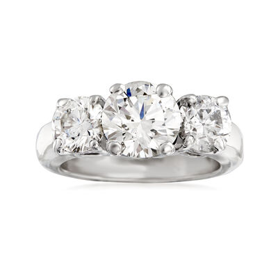 C. 1980 Vintage 3.50 ct. t.w. Diamond Three-Stone Ring in 14kt White Gold, , default