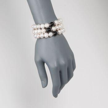 9-10mm Cultured Pearl and Black Onyx Jewelry Set: Three Stretch Bracelets With Black CZs. Size 7.5, , default