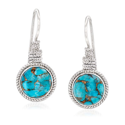 12mm Turquoise Roped Drop Earrings in Sterling Silver, , default