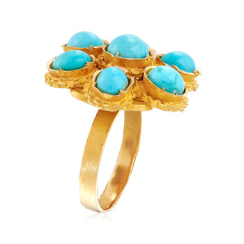 C. 1970 Vintage Turquoise Flower Ring in 18kt Yellow Gold. Size 6.5, , default