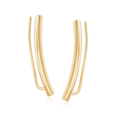 Italian 14kt Yellow Gold Bar Ear Climbers, , default