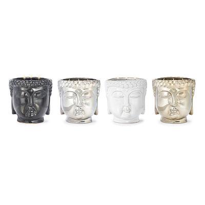 "Thompson Ferrier ""White Tea & Mint"" Metallic Silver Buddha Candle, , default"