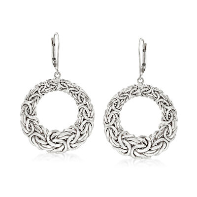 Sterling Silver Byzantine Open Circle Drop Earrings, , default