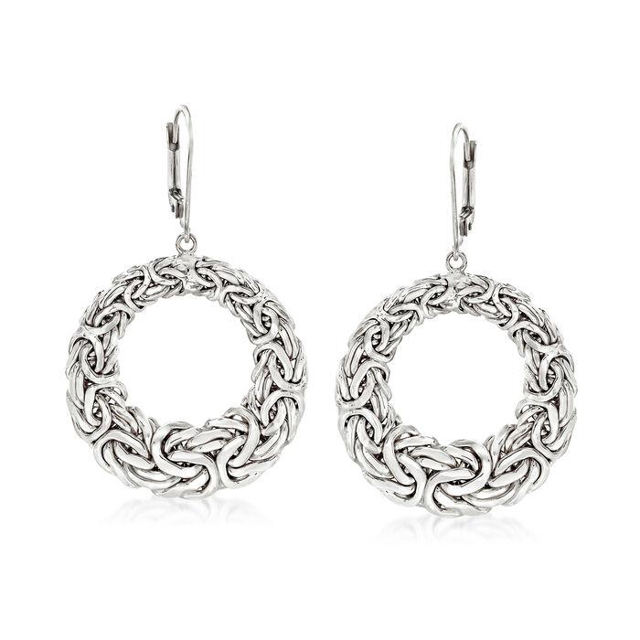 Sterling Silver Byzantine Open Circle Drop Earrings, , default