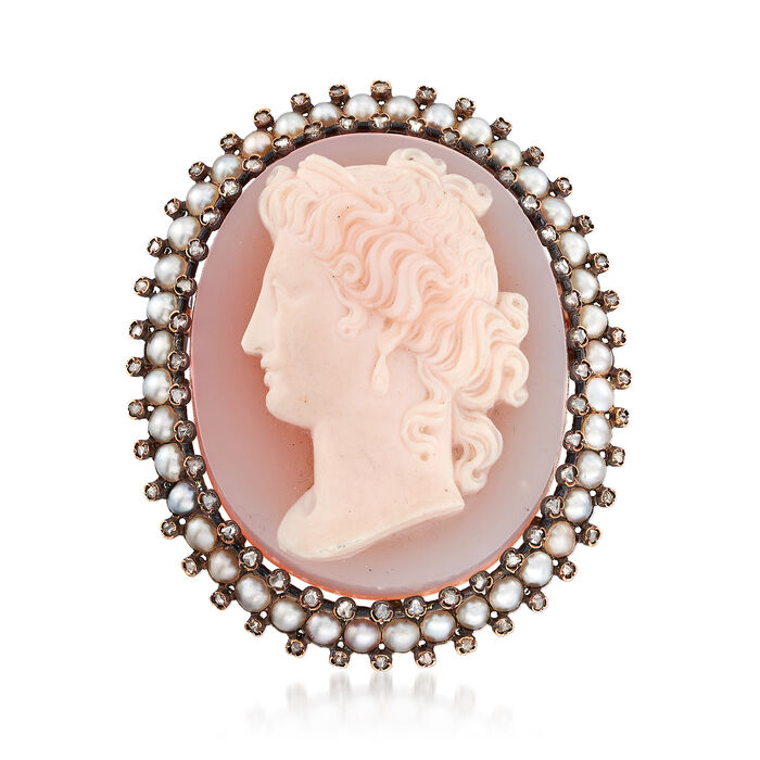 C. 1930 Vintage Pink Agate and 1.20 ct. t.w. Diamond Shell Cameo Pin with Cultured Pearls in 18kt Gold. Pin, , default