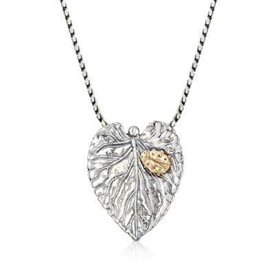 Sterling Silver Leaf Pendant Necklace with 14kt Yellow Gold Ladybug, , default