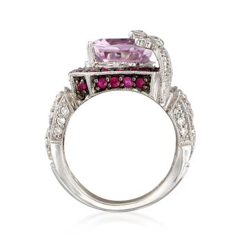 C. 2000 Vintage 6.10 Carat Kunzite and .70 ct. t.w. Ruby Ring with Diamonds in 14kt White Gold. Size 5, , default