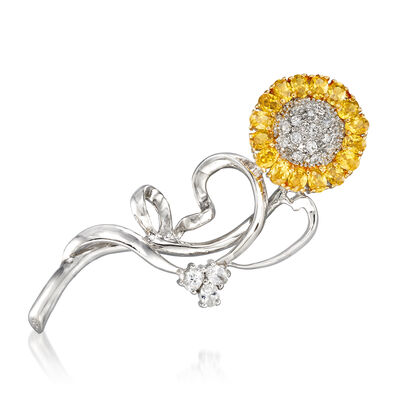 Yellow CZ and 1.63 ct. t.w. White CZ Flower in Sterling Silver, , default