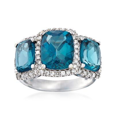 6.75 ct. t.w. London Blue Topaz and .46 ct. t.w. Diamond Three-Stone Ring in 18kt White Gold, , default