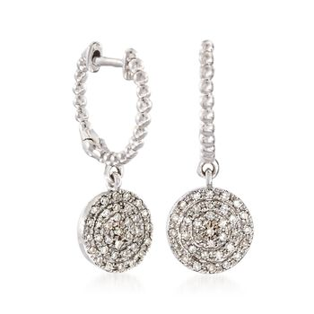 .20 ct. t.w. Pave Diamond Disc Drop Earrings in 14kt White Gold, , default