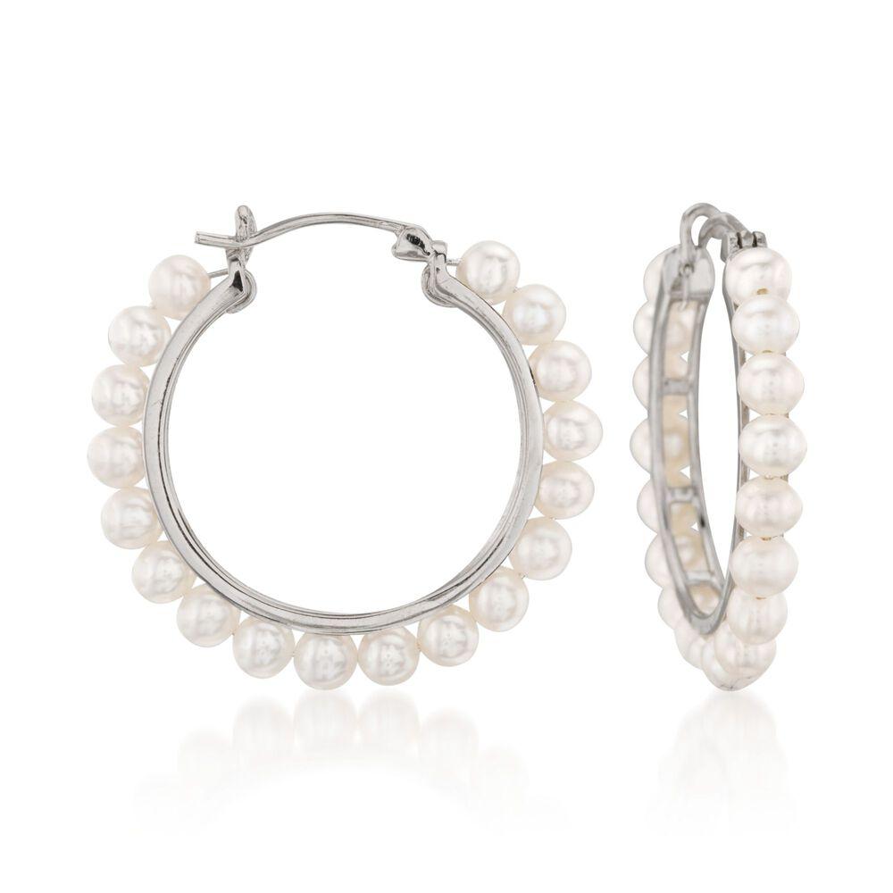3 5mm Cultured Pearl Hoop Earrings In Sterling Silver 1