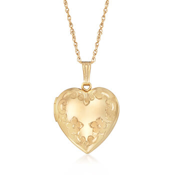 "14kt Yellow Gold Floral Heart Locket Necklace. 18"", , default"