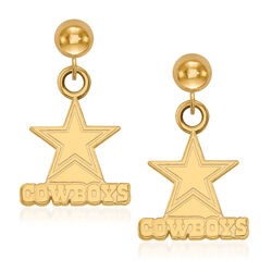 14kt Yellow Gold NFL Dallas Cowboys Dangle Ball Stud Earrings, , default