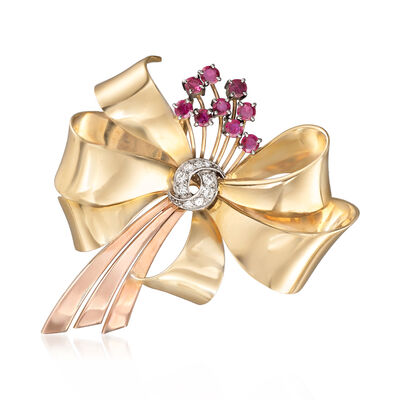 C. 1940 Vintage Tiffany Jewelry 1.80 ct. t.w. Ruby and .35 ct. t.w. Diamond Bow Pin Pendant in 14kt Two-Tone Gold, , default