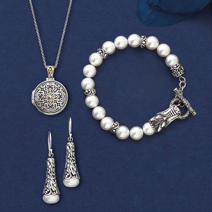 9.5-10mm Cultured Pearl Drop Earring in Sterling Silver