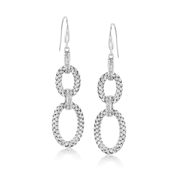 "Charles Garnier ""Fay"" .25 ct. t.w. CZ Double Oval Drop Earrings in Sterling Silver , , default"