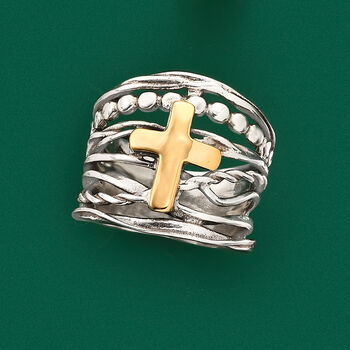 Sterling Silver and 14kt Yellow Gold Multi-Row Cross Ring