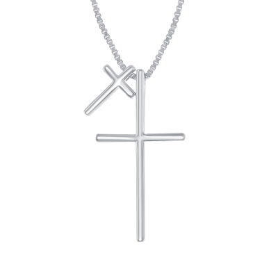 Sterling Silver Double Cross Necklace, , default