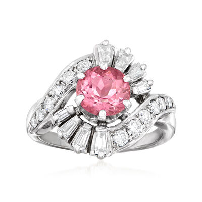 C. 1990 Vintage 1.35 ct. Pink Tourmaline and 1.00 ct. t.w. Diamond Ring in 14kt White Gold, , default