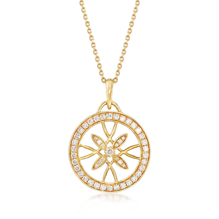 .84 ct. t.w. Diamond Floral Openwork Circle Pendant Necklace in 14kt Yellow Gold