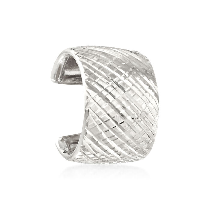 14kt White Gold Cross-Hatched Single Ear Cuff, , default