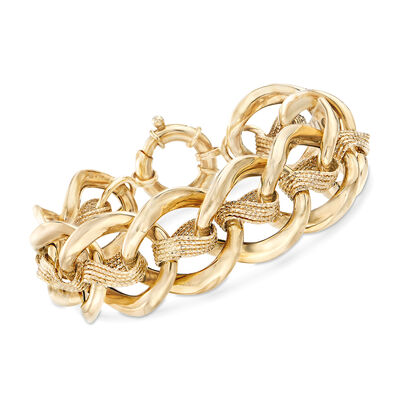 Italian 14kt Yellow Gold Double-Link Bracelet, , default