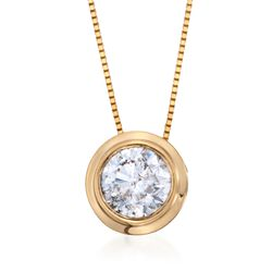 "1.00 ct. t.w. Bezel-Set Diamond Solitaire Necklace in 14kt Yellow Gold. 18"", , default"