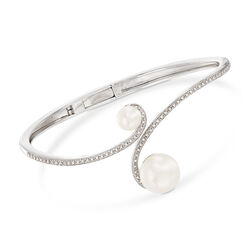 Cultured Pearl and .20 ct. t.w. Diamond Bangle Bracelet in Sterling Silver, , default
