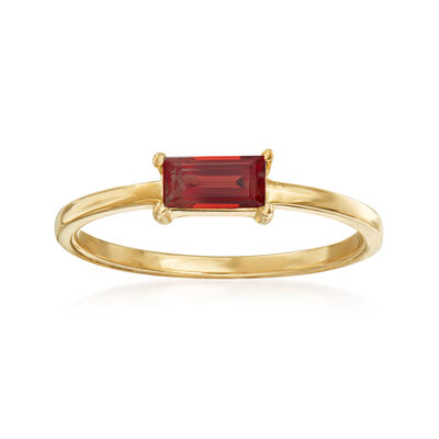 Italian .30 Carat Garnet Ring in 14kt Yellow Gold