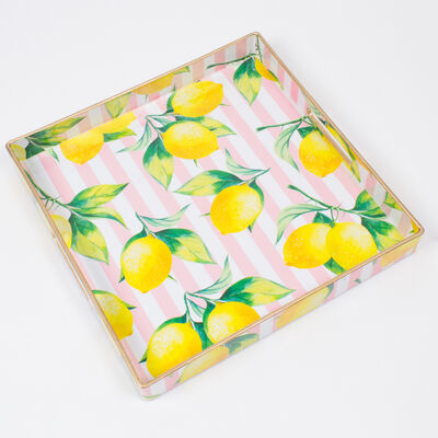 Pink Striped Lemon-Print Square Tray, , default