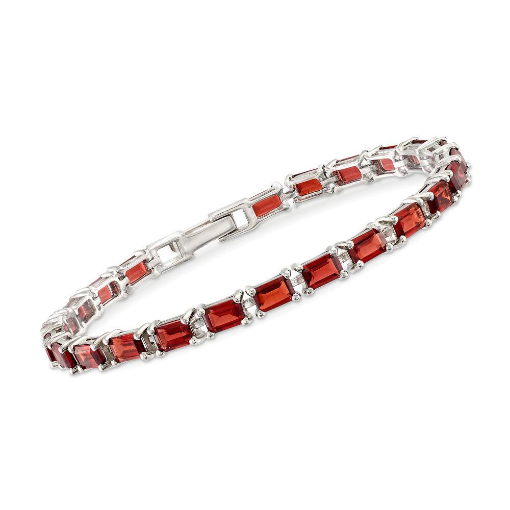 T W Emerald Cut Garnet Tennis Bracelet In Sterling Silver 7 5