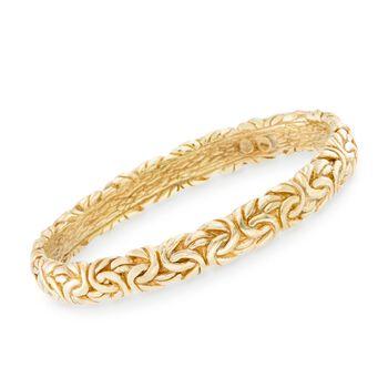 Italian 18kt Gold Over Sterling Silver Byzantine Bangle Bracelet, , default