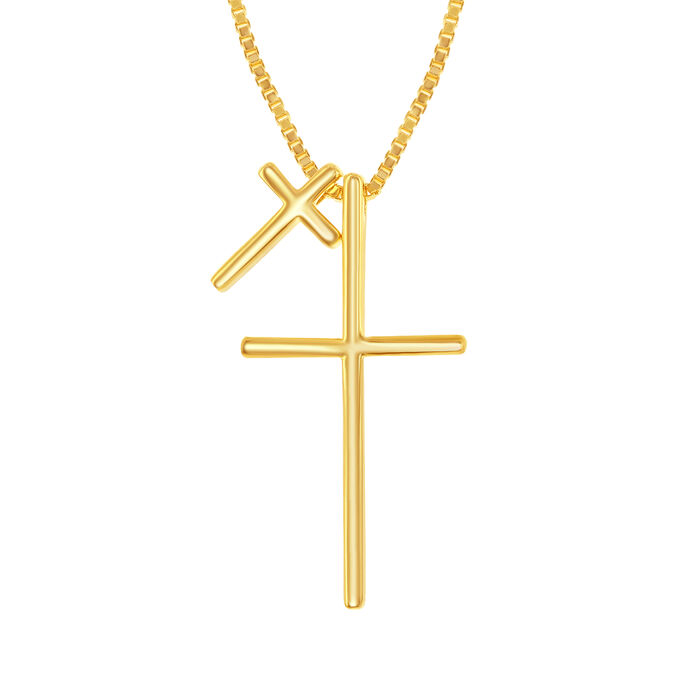 "18kt Yellow Gold Over Sterling Silver Double Cross Necklace. 16"", , default"
