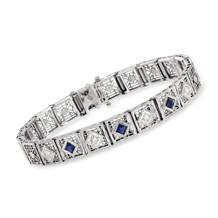 C. 1950 Vintage .75 ct. t.w. Simulated Sapphire and .25 ct. t.w. Diamond Bracelet in 14kt White Gold. 7""