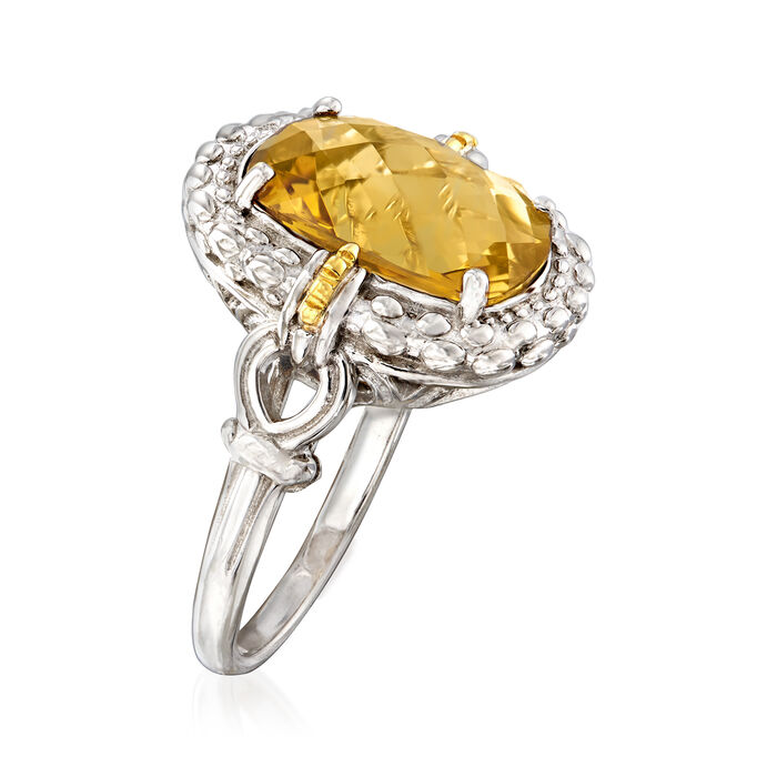 """Phillip Gavriel """"Popcorn"""" 6.00 Carat Yellow Quartz Ring in Sterling Silver with 18kt Yellow Gold"""