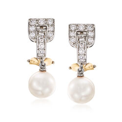 C. 1960 Vintage Tiffany Jewelry Cultured Pearl and .35 ct. t.w. Diamond Drop Earrings, , default