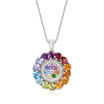 """1.73 ct. t.w. Multi-Stone Pendant Necklace in Sterling Silver. 18"""", , default"""