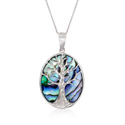Abalone Shell Tree of Life Pendant Necklace in Sterling Silver, , default