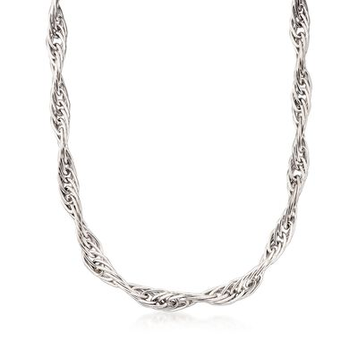 Italian Sterling Silver Twisted Multi-Link Necklace, , default