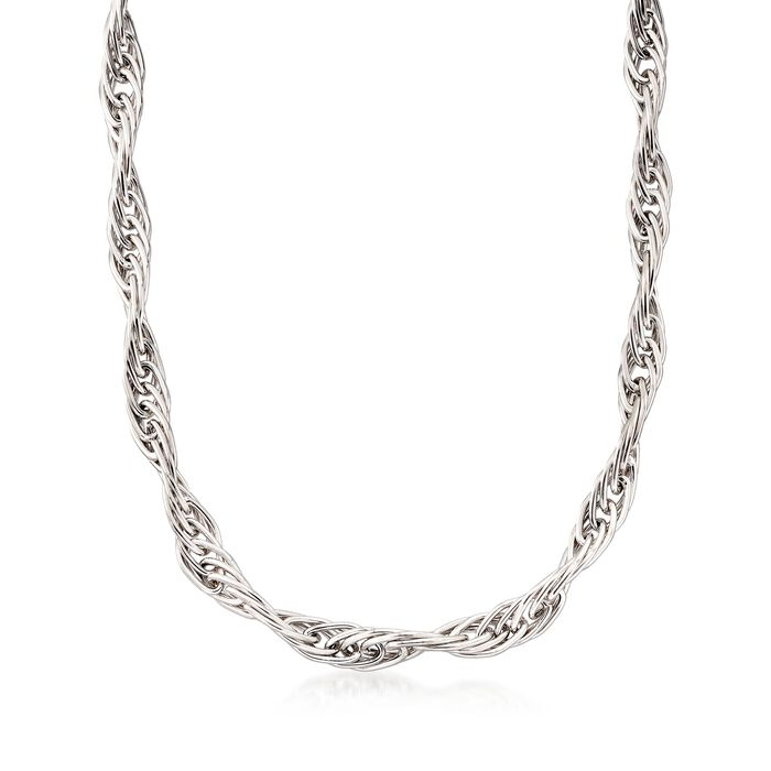 Italian Sterling Silver Twisted Multi-Link Necklace. 18""