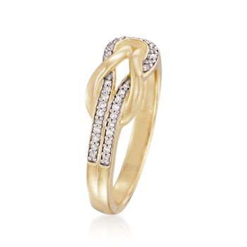 .10 ct. t.w. Diamond Knot Ring in 18kt Gold Over Sterling, , default