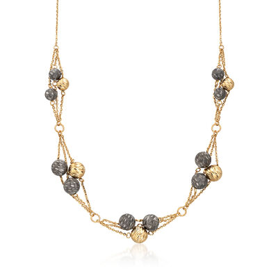 Italian 18kt Yellow Gold Bead Cluster Necklace, , default