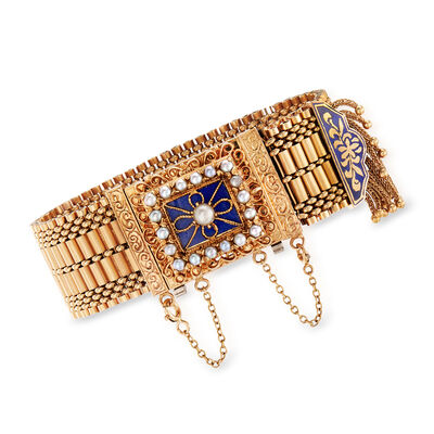 C. 1940 Vintage Geneva 2.5x4mm Cultured Pearl and Lapis Hidden Watch Bracelet in 14kt Yellow Gold, , default