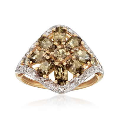 C. 1980 1.90 ct. t.w. Andalusite Ring With Diamond Accents in 10kt Yellow Gold, , default
