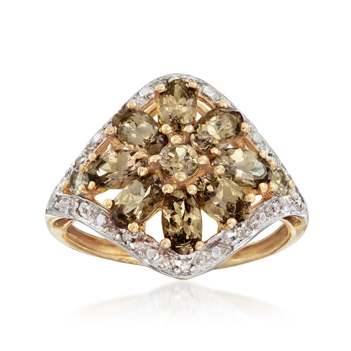 C. 1980 1.90 ct. t.w. Andalusite Ring With Diamond Accents in 10kt Yellow Gold. Size 7.5, , default
