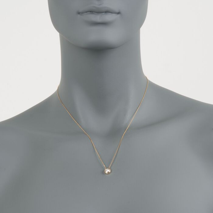 """.25 Carat Double Bezel-Set Diamond Solitaire Necklace in 14kt Yellow Gold. 18"""""""