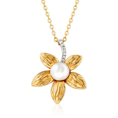 8-8.5mm Cultured Pearl Flower Pendant Necklace in 18kt Gold Over Sterling