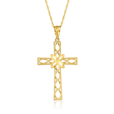 14kt Yellow Gold Diamond-Cut Openwork Cross Adjustable Pendant Necklace