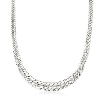 Sterling Silver Graduated Flat Cuban-Link Necklace, , default