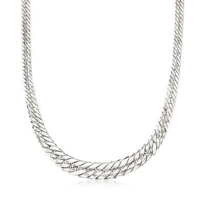 Sterling Silver Graduated Flat Cuban-Link Necklace, , default